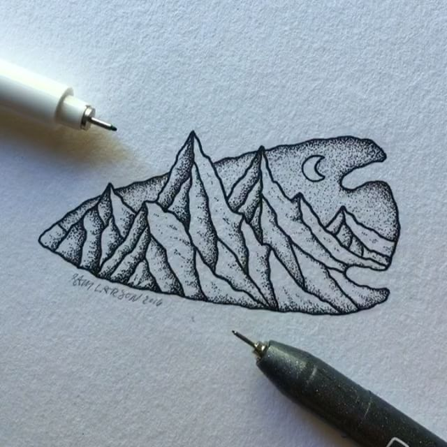 A little arrowhead mountain. Still need to darken up a few areas. #art…