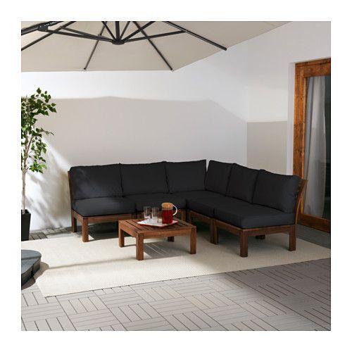 ÄPPLARÖ / KUNGSÖ 5-seat sectional, outdoor - brown stained/black - IKEA