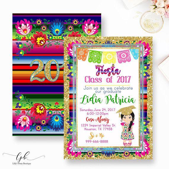 Fiesta Graduation Invitation Girl Fiestagraduation Invite