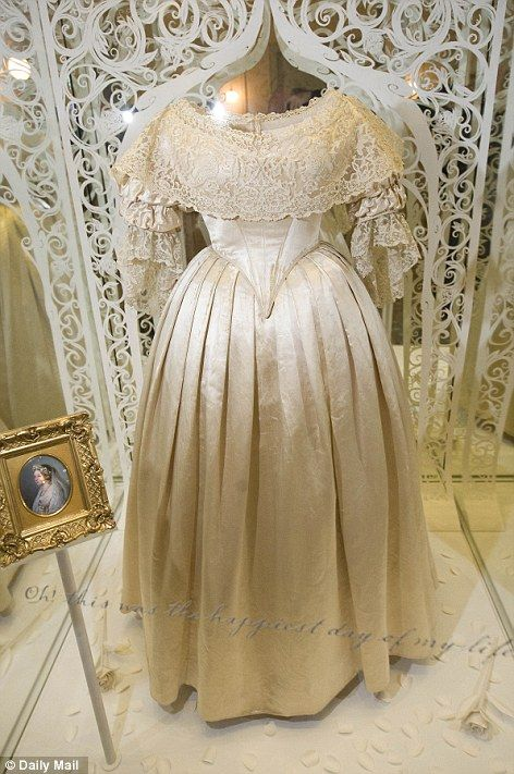 Queen Victoria's silk and lace trimmed wedding gown. She was married to Prince Albert on 10 February 1840. The gown is on display at Kensington Palace.