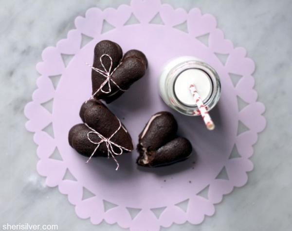 Heart Shaped Chocolate Whoopie Pies