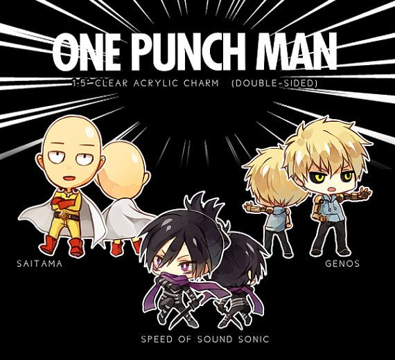 Saitama Genos Sonic One Punch Man Hand-Drawn por HideAwayMelon
