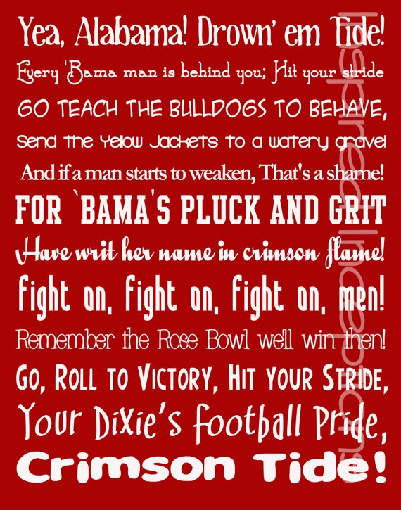 Alabama Fight Song Subway Art Poster 11x14 by InspiredInceptions, $15.00