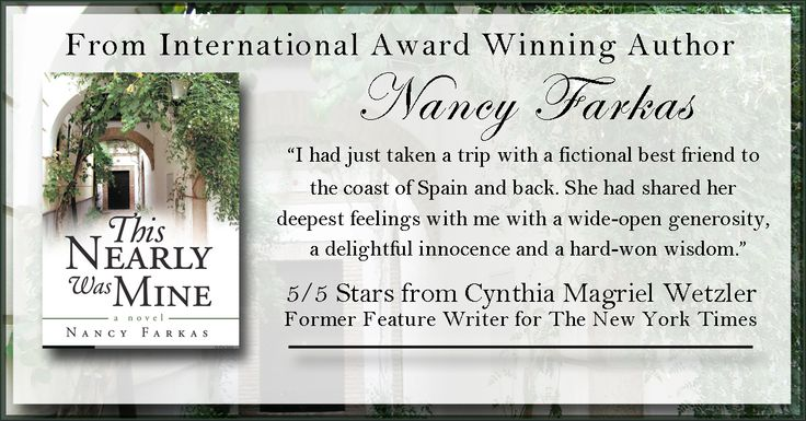 A tale of passion and commitment, this award-winning story explores the conflicts of heart and mind and the anguish our unlikely heroine feels as she goes through life.   http://www.amazon.com/This-Nearly-Was-Mine-Novel/dp/1480800422