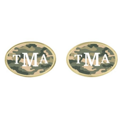 Personalized, #monogram, #camouflage, men's #cuff #links in shades of tan, khaki, pine green, evergreen, and olive drab. Great gift for hunters, outdoor sportsmen, military members, camo fans, or for camo themed weddings, engagement parties, anniversaries, vow renewals, prom, homecoming, etc. Monogram can be easily changed to different letters, font styles, colors, and sizes. Other #cufflink shapes, metal colors, camo colors, and matching items available. #cufflinks #monogram #camo…