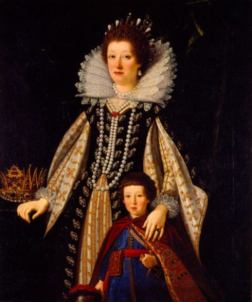 Maria Maddalena of Austria With Her Son, the future Ferdinand II by Justus Sustermans (1597 – 1681, Belgian)