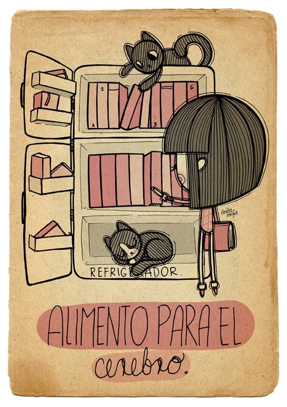 Libros y gatos en una nevera. #cat #book