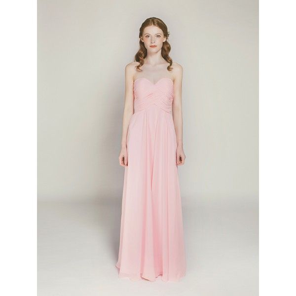 chiffon full length strapless sweetheart neckline in pink swbd016