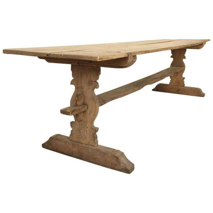 Swedish Gustavian Long Refectory Pine Trestle Dining Table