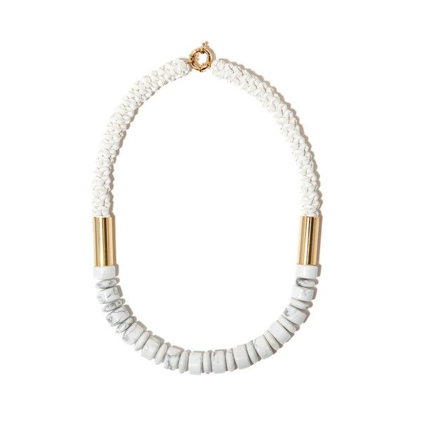 Hand made gold plated brass, barrel-cut white howlite stone and white woven Kangaroo leather neckpiece by Pieces of Eight artists, Lyn & Tony.