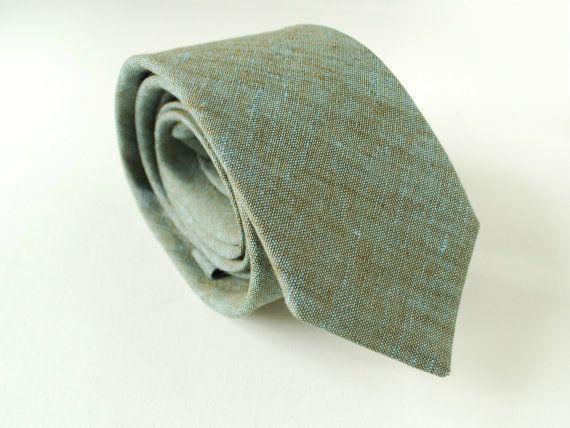Sage Green Linen Necktie Chambray Blueish Green Neck by Adatele