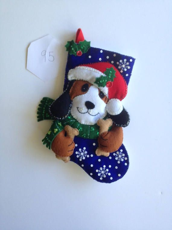 Bucilla, Christmas stocking. Santa Dog, sm13. lined Sequins and beads and felt. Cute for pet, or child that like dogs or anyone!! So cute! Ready for the holidays