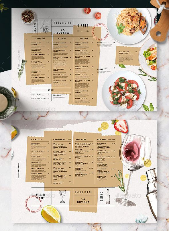Restaurant Food And Drinks Menu Template Psd A3 A4 Us Letter And Tabloid Tablemat Menu Design Template Menu Card Design Drink Menu