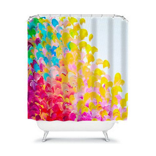 CREATION IN COLOR Fine Art Painting Shower Curtain Washable Floral Home Decor Colorful Rainbow Cheerful Ocean Waves Modern Style Bathroom by EbiEmporium #colorful #showercurtain #bathroom #decor #homedecor #rainbow #multicolor #decorative #splash #ombre #yellow #red #interiors #interiordecor #teen #dorm #bath #shower #abstractart