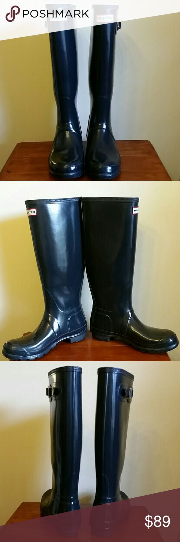 Hunter Boots / Tall Gloss / Navy Great condition tall gloss Hunter boots in the color of navy.   Size is UK 6, US 7M/8F, EU39.  Hunter boots run a little large, and it's said to size down.  Visit the Hunter boot website for more helpful information on sizing.  Please see other listing in my closet of additional pictures of these boots before purchasing.I like to be very thorough :)  Trying to clean out my closet.  *No trades, thank you* *Please use offer button to make offer /discuss pricing…