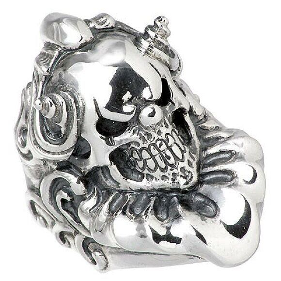 North Arrow Shop Sterling Silver Skull Ring with Skeleton Gothic Jewelry with Gift Box