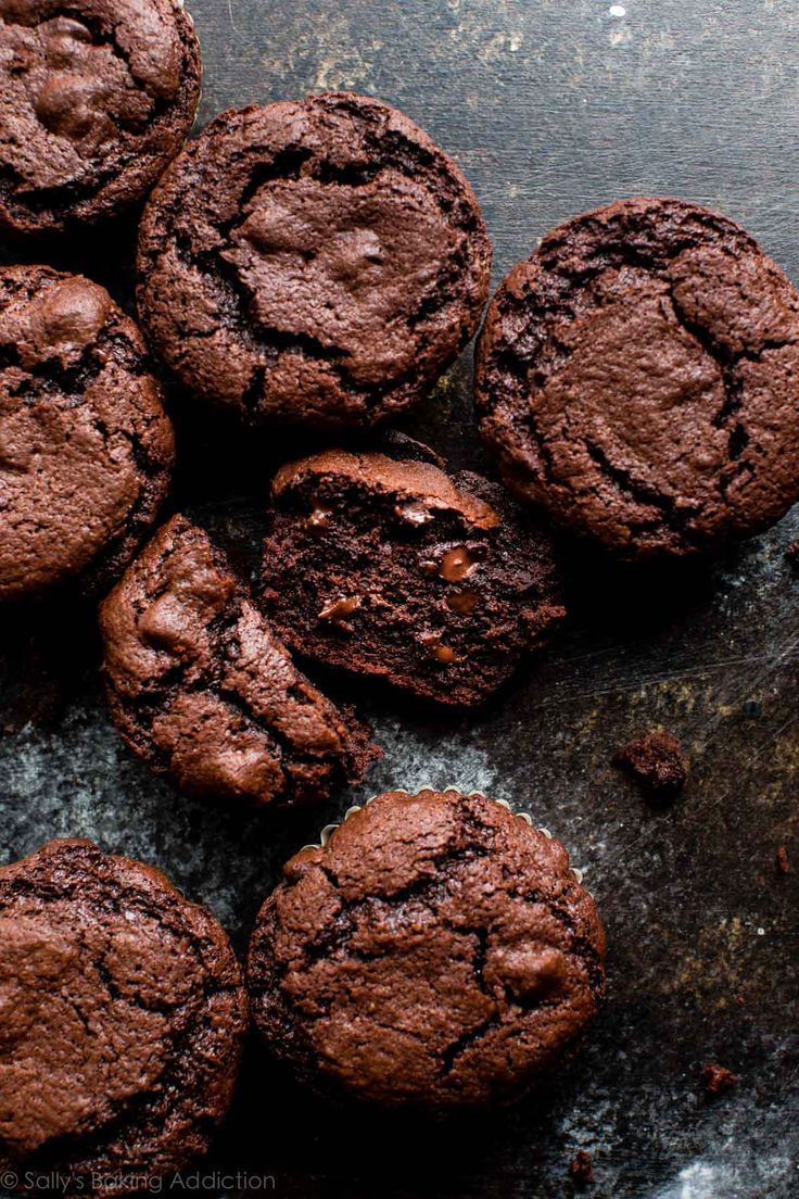 These aren't double chocolate muffins, they are TRIPLE chocolate muffins! Easy recipe on sallysbakingaddiction.com