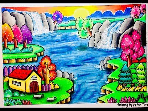 Cara Menggambar Pemandangan Air Terjun Dan Gradasi Warna Oil Pastel Youtube Gambar Pemandangan Lukisan Hewan