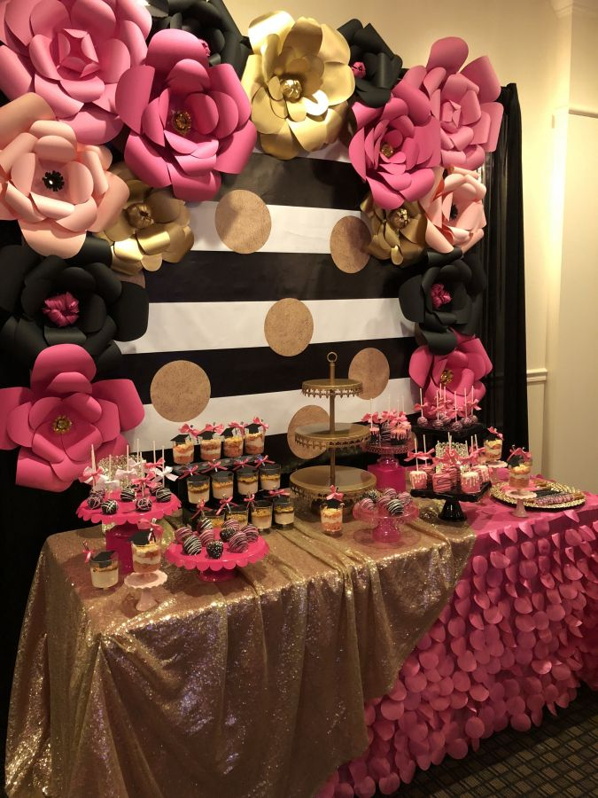 12 Pink Black And White Party Decorations Pink And Gold Birthday Party Pink Gold Party Pink Black Gold Party