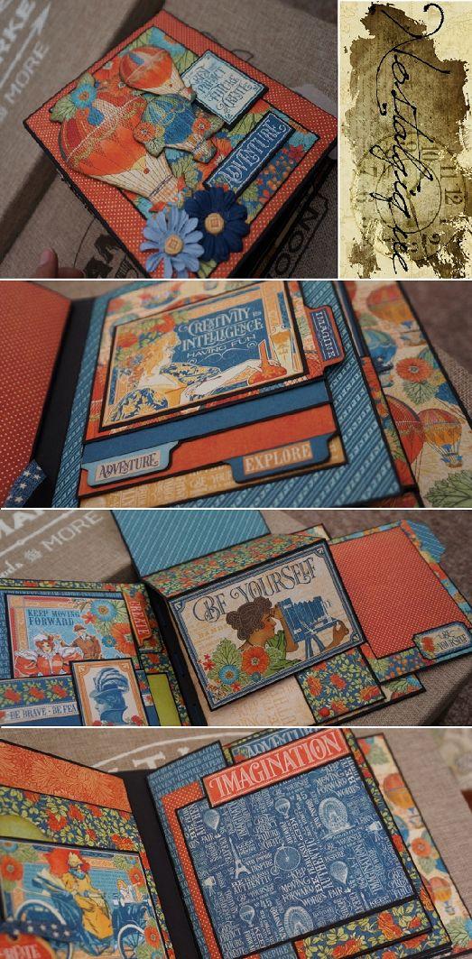 """6 1/2"""" x 8"""" World's Fair Graphic 45 Mini Album Adventure PDF Tutorial"""