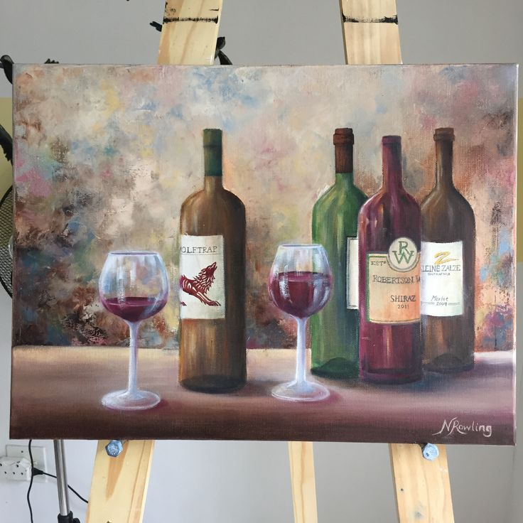 Winebottle painting, winebottle art, oil painting