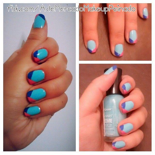 Back to the basic  Estefi eligió una #francesitas en diagonal y cortadas bicolor con esmaltes de @sallyhansenarg en tono verde pastel, violeta y rosa; para happy.nails.art  Si vos también querés este #nailart envianos un mensaje privado o mail a mercadomakeup@gmail.com   #naildesign #notd #nails #nailpolish #nailartaddict #nail #adelaidamercadomakeup #happynails