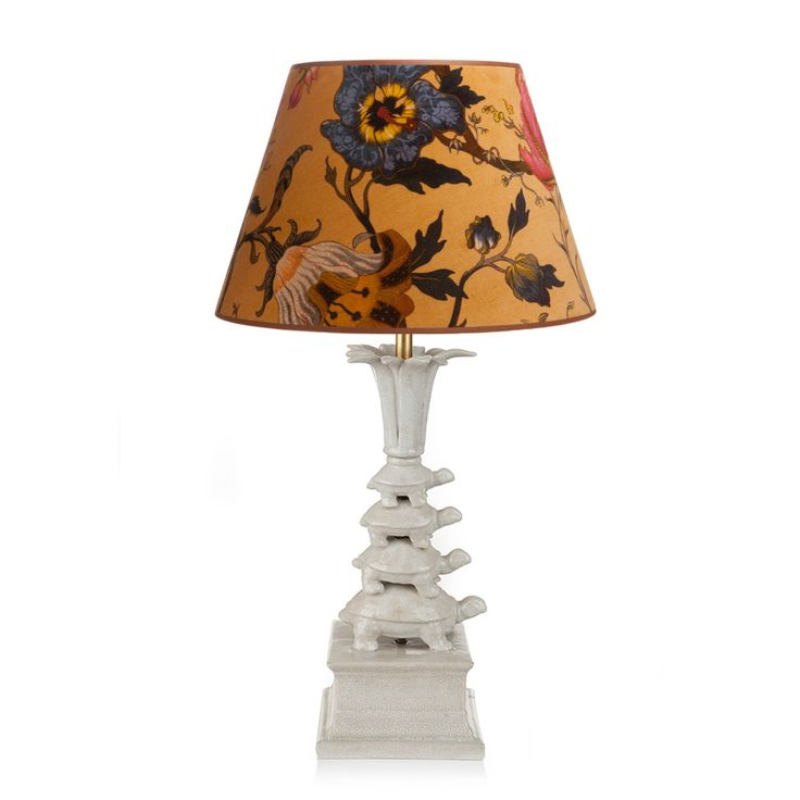 Tortoise Lamp with DALEY 'Artemis' Lampshade Set - White and Ochre