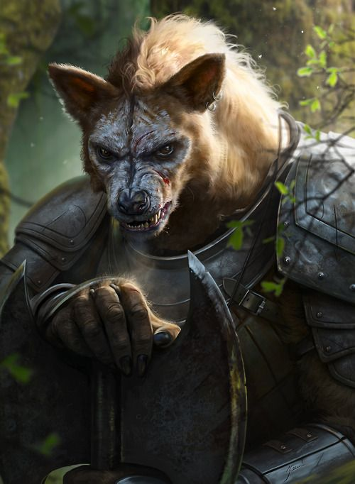 mererecorder:  Gnarl by Jarow. Gnolls, dog-folk, tie into the emphasis of bloodlines in the west. Those of 'corrupted blood' like the Gnolls & Skaven/rat folk are ostracized and hunted.