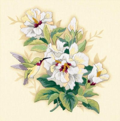 Hibiscus Floral Crewel Kit-12 X12  Stitched In Wool & Floss
