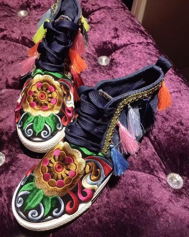 Ladies Embroidery Tassels Sneakers Nepal Shoes Hidden Heel Canvas High Top Boots