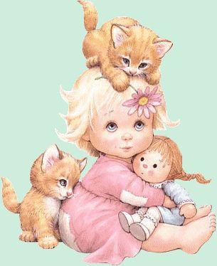 une fille avec des chatons 5