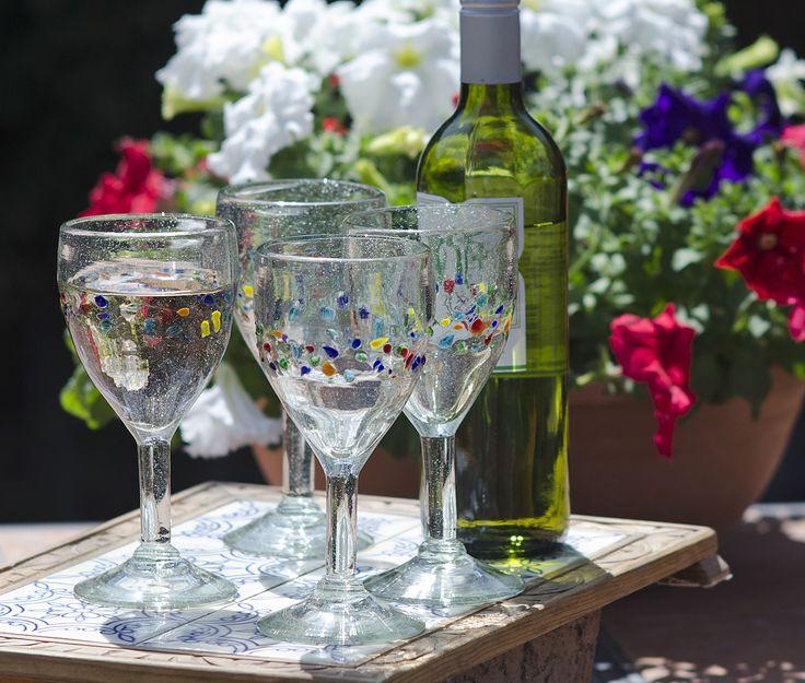 """Chilled Wine in Artistic """"Tutti Frutti"""" Orion Glasses"""