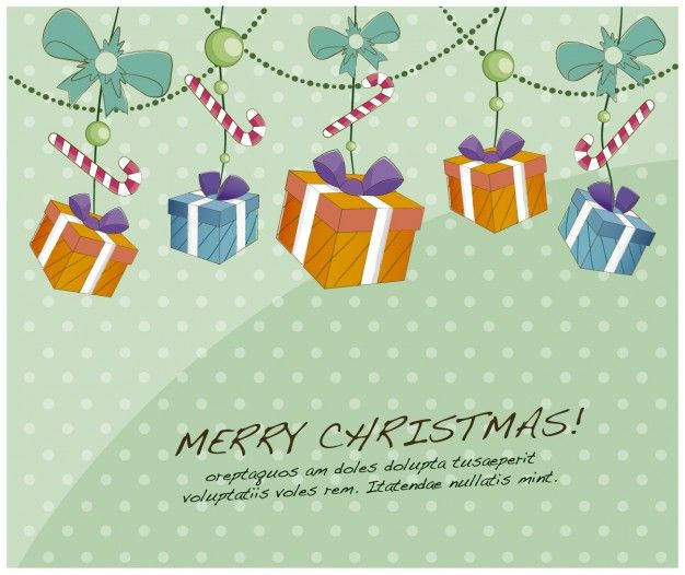 Free vector Card with candy canes and gifts #33773