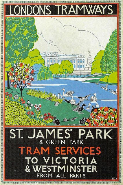 London's Tramways . St. James' Park and Green Park . Tram Services to Victoria  Westminster.