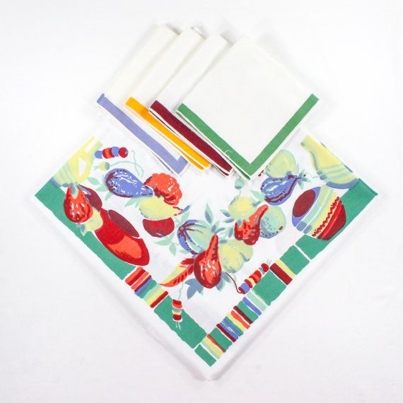 Wilendur Tablecloth & napkin set - Mexicali / Southwest White Red Tan Green from VintagePDX