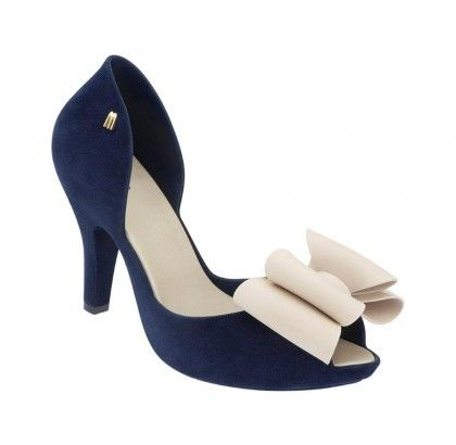Navy Melissa Magnolia II from the We Are Flowers Collection bow off white black peep toe peeptoe 3D jelly shoes rubber signature trademark scent