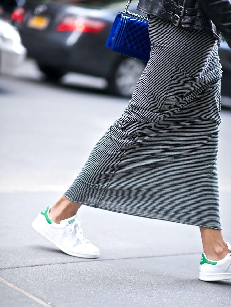 Zara striped dress, Adidas Stan Smith, Chanel boy bag