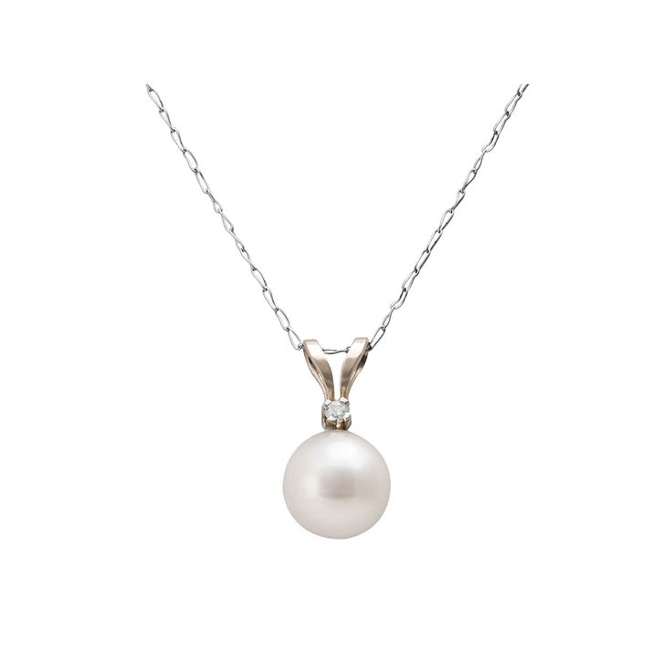 """14k White Gold Freshwater Cultured Pearl and Diamond Accent Pendant, Women's, Size: 18"""""""