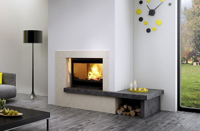 Seguin Super 9 LIft Black Line Glass Cast Iron Cheminee Fireplace