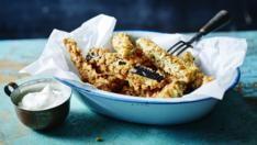 Aubergine chips with fennel yoghurt