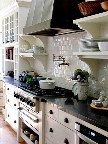 White Cabinets, Black Countertops, White Subway Tile, Stove To Die For,  Some Open Shelving. My Absolute Dream Kitchen.