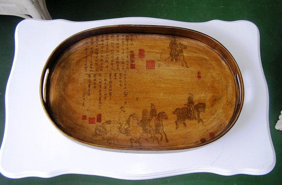 Vintage Bentwood Stenciled Asian Serving Tray / EPSTEAM