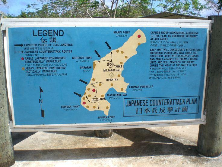 A war map of Saipan.
