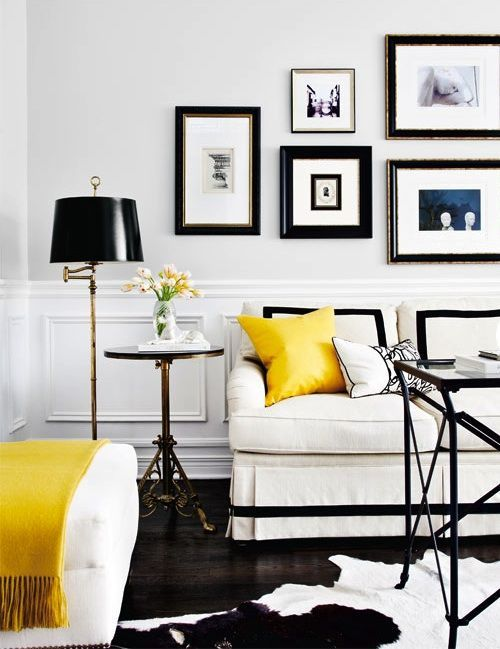 Living Room Colour Schemes: The Complete Guide black-white-yellow