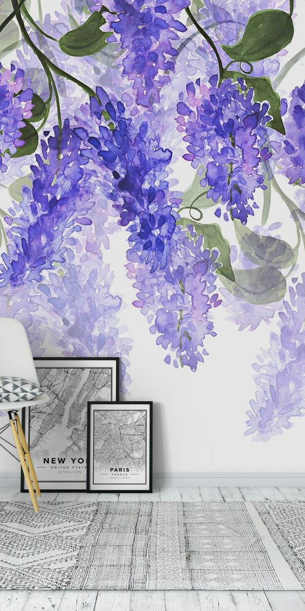 Blue Wisteria Wall Mural Watercolor Floral Wallpaper Wall