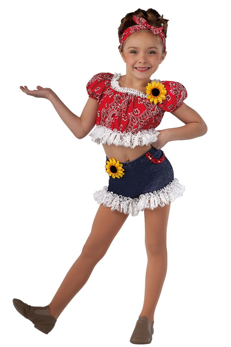 15185 My Down Home Gal | Kids Showcase / First Performance / Dance Costumes / Recital Wear | Dansco 2015 | Red printed cotton crop top. Separate glitter printed denim spandex shorts. White lace, red sequin and flower trim. Headpiece included.