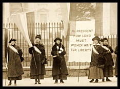 Photographs from the Records of the  National Woman's Party (representing the militant wing of the suffrage movement) utilized public demonstrations (picketing, pageants, parades, demonstrations) to gain popular attention for the right of women to vote.
