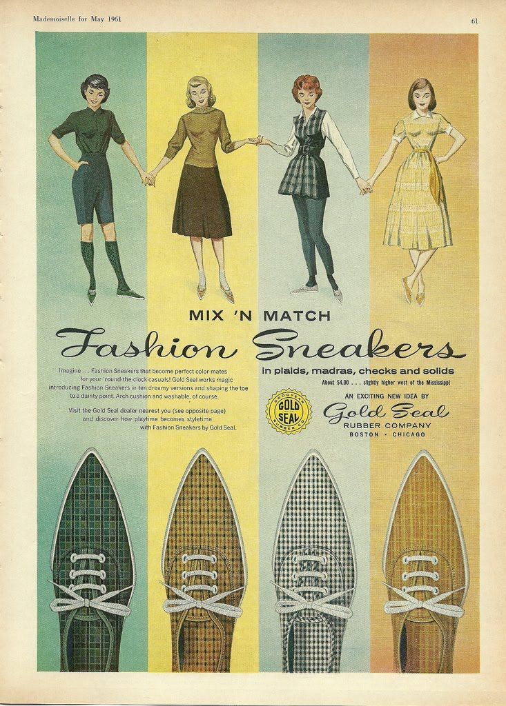 Fashion sneakers ad from year 1961, cool retro #coolhunting