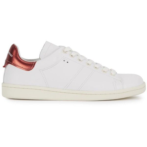 Womens Tennis Shoes Isabel Marant Bart White Leather Tennis Trainers ($410) ❤ liked on Polyvore featuring shoes, sneakers, lacing sneakers, tennis shoes, round cap, white sneakers and white leather sneakers