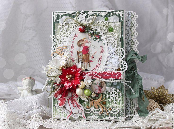 Купить Новогодняя открытка - открытка, скрапбукинг открытка, открыткка на заказ, открытка к новому году